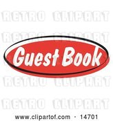 Vector Clip Art of Retro Red Guest Book Internet Website Button Clipart Illustration by Andy Nortnik