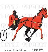 Vector Clip Art of Retro Red Guy Horse Harness Racing by Patrimonio