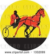 Vector Clip Art of Retro Red Guy Horse Harness Racing in a Yellow and Black Circle by Patrimonio