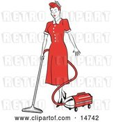 Vector Clip Art of Retro Red Haired Housewife or Maid Lady in a Long Red Dress and Heels, Using a Canister Vacuum to Clean the Floors by Andy Nortnik