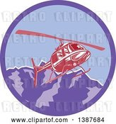 Vector Clip Art of Retro Red Helicopter Flying over the Alps Mountains in a Purple Circle by Patrimonio