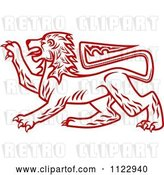 Vector Clip Art of Retro Red Heraldic Lion 2 by Vector Tradition SM