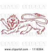 Vector Clip Art of Retro Red Heraldic Lion by Vector Tradition SM