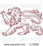 Vector Clip Art of Retro Red Heraldic Lion Clawing by Vector Tradition SM