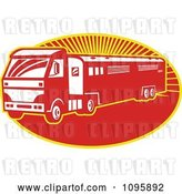Vector Clip Art of Retro Red Horse Transport Lorry Truck with a Trailer over Rays by Patrimonio