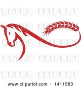 Vector Clip Art of Retro Red Horse with a Malt Wheat Tail, Forming a Mobius Strip by Patrimonio