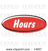 Vector Clip Art of Retro Red Hours Internet Website Button by Andy Nortnik