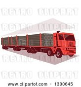 Vector Clip Art of Retro Red Logging Truck by Patrimonio