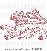 Vector Clip Art of Retro Red Long Haired Heraldic Lion by Vector Tradition SM