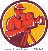 Vector Clip Art of Retro Red Male Cameraman in a Maroon White and Yellow Circle by Patrimonio