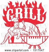 Vector Clip Art of Retro Red Male Chef Carrying and Alligator to a Football Shaped Bbq Under Grill Text Flames by Patrimonio