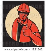 Vector Clip Art of Retro Red Male Construction Worker Holding a Thumb up in a Tan Circle on Black, with a White Border by Patrimonio