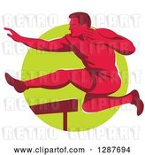 Vector Clip Art of Retro Red Male Track and Field Athlete Running and Leaping Hurdles over a Green Circle by Patrimonio