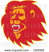 Vector Clip Art of Retro Red Orange and Yellow Roaring Lion Head by Patrimonio