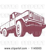 Vector Clip Art of Retro Red Pickup Truck from the Low Front by Patrimonio