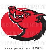 Vector Clip Art of Retro Red Razorback Pig and Oval by Patrimonio