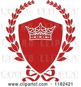 August 14th, 2018: Vector Clip Art of Retro Red Shield and Laurel Wreath with a Crown by Vector Tradition SM