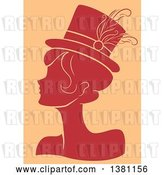 Vector Clip Art of Retro Red Silhouetted Burlesque Lady Wearing a Hat over Tan by BNP Design Studio