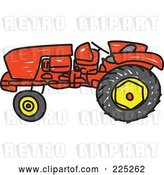 Vector Clip Art of Retro Red Sketched Tractor by Prawny