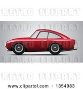 Vector Clip Art of Retro Red Sports Car on Gray by Vectorace