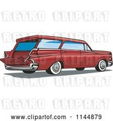 Vector Clip Art of Retro Red Station Wagon by Patrimonio