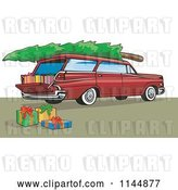 Vector Clip Art of Retro Red Station Wagon with a Christmas Tree and Gifts by Patrimonio