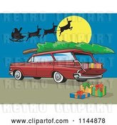 Vector Clip Art of Retro Red Station Wagon with a Christmas Tree Santa and Gifts by Patrimonio