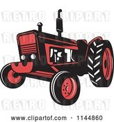 Vector Clip Art of Retro Red Tractor by Patrimonio