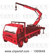Vector Clip Art of Retro Red Truck Mounted Hydraulic Crane Cartage with Hydraulic Boom Hoist by Patrimonio