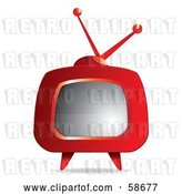 Vector Clip Art of Retro Red Tv with Legs by MilsiArt