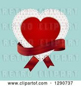 Vector Clip Art of Retro Red Valentine Love Heart over a Patterned Doily with a Red Ribbon over Turquoise by Elaineitalia