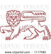 Vector Clip Art of Retro Red Walking Heraldic Lion by Vector Tradition SM