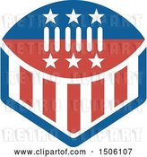 Vector Clip Art of Retro Red White and Blue American Football with Stars and Stripes by Patrimonio