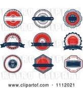 Vector Clip Art of Retro Red White and Blue Banners and Labels by Vector Tradition SM