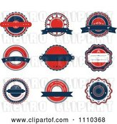 Vector Clip Art of Retro Red White and Blue Labels by Vector Tradition SM