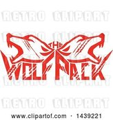 Vector Clip Art of Retro Red Wolf Heads over Text by Patrimonio