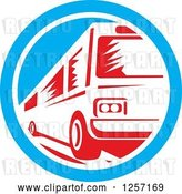 Vector Clip Art of Retro Red Woodcut Bus in a Blue and White Circle by Patrimonio