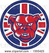 Vector Clip Art of Retro Red Woodcut Guard Bulldog in a Union Jack Flag Circle by Patrimonio