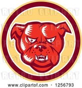 Vector Clip Art of Retro Red Woodcut Guard Bulldog in a Yellow Maroon and White Circle by Patrimonio