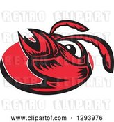 Vector Clip Art of Retro Red Woodcut Hornet Face in an Oval by Patrimonio
