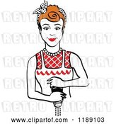 Vector Clip Art of Retro Redhead Housewife or Maid Lady Grinding Fresh Pepper 2 by Andy Nortnik
