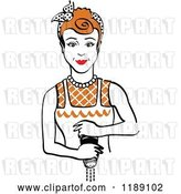Vector Clip Art of Retro Redhead Housewife or Maid Lady Grinding Fresh Pepper by Andy Nortnik