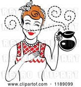 Vector Clip Art of Retro Redhead Waitress or Housewife Smelling the Aroma of Fresh Hot Coffee in a Pot 2 by Andy Nortnik