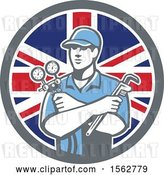 Vector Clip Art of Retro Refrigeration Mechanic, Air Conditioning or Air Con Serviceman Holding Manifold Gauge in a Union Jack Flag Circle by Patrimonio