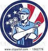 Vector Clip Art of Retro Refrigeration Mechanic, Air Conditioning or Air Con Serviceman Holding Manifold Gauge in an American Flag Circle by Patrimonio