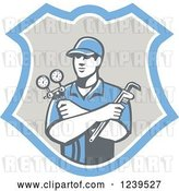 Vector Clip Art of Retro Refrigeration Mechanic Worker Holding a Pressure Gauge in a Shield by Patrimonio