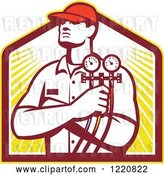 Vector Clip Art of Retro Refrigeration Mechanic Worker Holding a Pressure Gauge over a Shield of Sunshine by Patrimonio