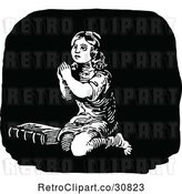 Vector Clip Art of Retro Religious Girl Praying 2 by Prawny Vintage