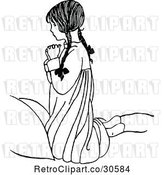 Vector Clip Art of Retro Religious Girl Praying by Prawny Vintage