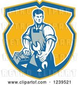 Vector Clip Art of Retro Repair Guy Carrying a Wrench and Tool Box in a Shield by Patrimonio